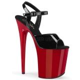 Röd platå 20 cm FLAMINGO-809 pleaser höga klackar för kvinnor
