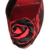 Röd spets tyg 13,5 cm BELLA-17 Höga Fest Sandaler med Klack
