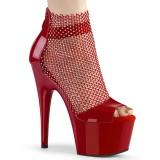 Röda högklackade skor 18 cm ADORE-765RM glittriga högklackade platåskor