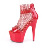 Röda högklackade skor 18 cm ADORE-765RM glittriga klackar högklackade platåskor