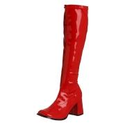 Röda lackstövlar blockklack 7,5 cm - 70 tal hippie boots disco gogo knähöga stövlar