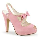 Rosa 11,5 cm BETTIE-03 Pinup pumps skor med dold platå