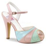 Rosa 11,5 cm BETTIE-27 Pinup sandaletter med dold platå