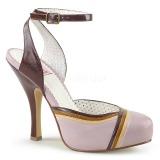 Rosa 11,5 cm retro vintage CUTIEPIE-01 Pinup sandaletter med dold platå