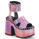 Rosa 12,5 cm Demonia CAMEL-102 lolita sandaler med platå