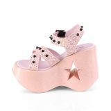 Rosa 13 cm Demonia DYNAMITE-02 lolita sandaler med kilklack