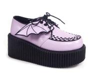 Rosa 7,5 cm CREEPER-205 plat� creepers skor - kvinder plat�skor med bat vingar