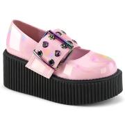 Rosa 7,5 cm CREEPER-230 maryjane creepers skor - kvinder plat�skor med sp�nne
