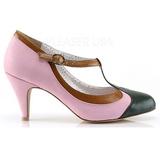 Rosa 8 cm PEACH-03 Pinup pumps skor med låg klack