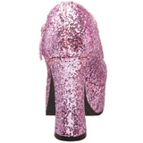 Rosa Glitter 11 cm MARYJANE-50G Höga Platåpumps Mary Jane