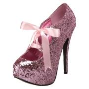 Rosa Glitter 14,5 cm TEEZE-10G Concealed burlesque spetsiga pumps med stilettklackar