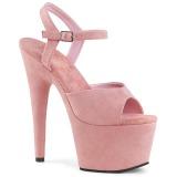 Rosa Konstläder 18 cm ADORE-709FS högklackade sandaletter