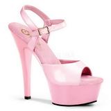 Rosa Lack 15 cm Pleaser KISS-209 Höga sandaletter med klack