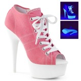 Rosa Neon 15 cm DELIGHT-600SK-01 canvas sneakers med hög klack
