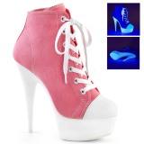 Rosa Neon 15 cm DELIGHT-600SK-02 canvas sneakers med hög klack