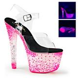 Rosa Neon 18 cm CRYSTALIZE-308PS Platå högklackade skor