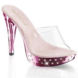 Rosa Transparent 14 cm COCKTAIL-501SDT Slippers Strass Klackar