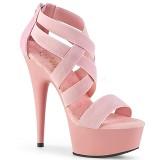 Rosa elastiskt band 15 cm DELIGHT-669 pleaser skor med hög klack