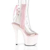 Rosa glittriga klackar 18 cm UNICORN-1018C pole dance stövletter
