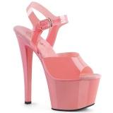 Rosa högklackade skor 18 cm SKY-308N JELLY-LIKE stretchmaterial högklackade platåskor