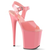 Rosa högklackade skor 20 cm FLAMINGO-808N JELLY-LIKE stretchmaterial högklackade platåskor