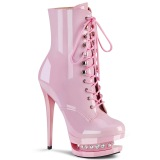 Rose 15,5 cm BLONDIE-R-1020 lace up platform ankle boots in patent
