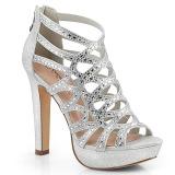 Silver 11,5 cm Pleaser SELENE-24 Högklackade sandaletter med platå