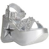 Silver 13 cm Demonia DYNAMITE-02 lolita sandaler med kilklack