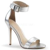 Silver 13 cm Pleaser AMUSE-10 högklackade sandaletter