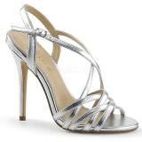 Silver 13 cm Pleaser AMUSE-13 högklackade sandaletter