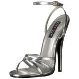 Silver 15 cm DOMINA-108 fetish sandaler med stilettklack