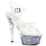 Silver 15 cm KISS-208GF glittriga platå sandaler skor