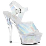 Silver 15 cm KISS-208N-CRHM Hologram platform high heels shoes