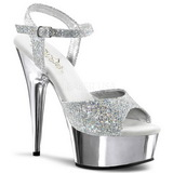 Silver 15 cm Pleaser DELIGHT-609G Chrome Platform High Heel