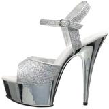 Silver 15 cm Pleaser DELIGHT-609G Krom Högklackade Sandaletter