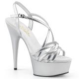 Silver 15 cm Pleaser DELIGHT-613 Högklackade sandaletter med platå
