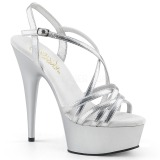 Silver 15 cm Pleaser DELIGHT-613 Womens High Heel Sandals