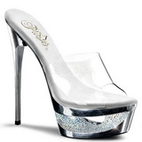 Silver 16,5 cm Pleaser ECLIPSE-601DM Strass Platå Höga Slip in Mules