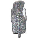 Silver 18 cm ADORE-701LG glitter platå tofflor dam med klack