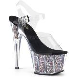 Silver 18 cm ADORE-708CG glitter platå klackar skor