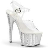 Silver 18 cm ADORE-708VLRS platå klackar skor med strass stenar