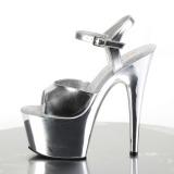 Silver 18 cm ADORE-709 Chrome Platform High Heel