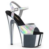 Silver 18 cm ADORE-709HGCH Hologram platå klackar skor