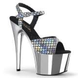 Silver 18 cm ADORE-709MSC Hologram platå klackar skor