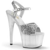 Silver 18 cm ADORE-710GT glittriga platå klackar skor