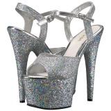 Silver 18 cm ADORE-710LG glitter platå klackar skor