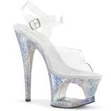 Silver 18 cm MOON-708HB Hologram platå klackar skor