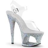 Silver 18 cm MOON-708LG glitter platå klackar skor