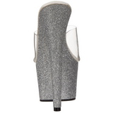 Silver 18 cm Pleaser ADORE-701SDG Glitter Platå Höga Mules