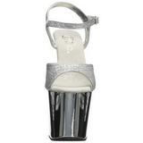 Silver 18 cm Pleaser REVOLVER-709G Platåsandaletter med Krom